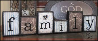 home decor wood word family distressed blocks by designsbyth