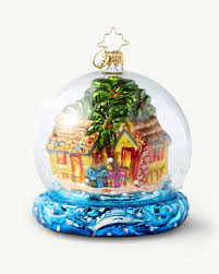 christopher radko tiki snow globe ornament