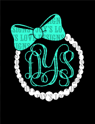 bow monogram pearl and bow monogram frame svg and dxf idealpin