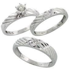 Trio Wedding Ring Sets by 10k White Gold Diamond Trio Wedding Ring Set His 5mm U0026 Hers 3 5mm