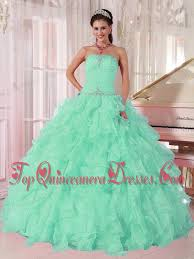 aqua green quinceanera dresses aqua blue gown strapless ruching organza beading popular