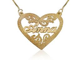 Engraved Pendant 18k Gold Heart Engraved Name Necklace Persjewel