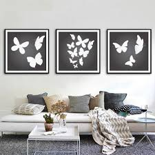 2017 canvas painting black white butterfly decoration wall art