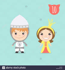 vector illustration of two happy cute kids characters boy in
