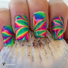 striped rainbow water marble nail art tutorial youtube nails