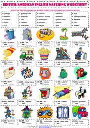 american and british english esl printable worksheets and exercises