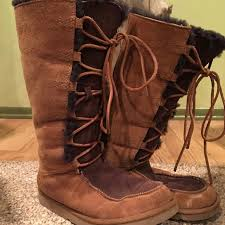 ugg s boots chestnut 75 ugg shoes shearling ugg lace up boots chestnut from
