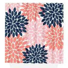 Navy And Coral Shower Curtain Spectacular Idea Navy And Coral Shower Curtain In Pink Aqua Gray
