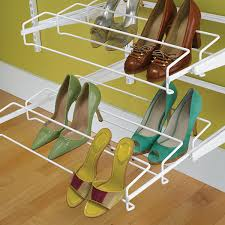 Container Store Shelves by White Elfa Gliding Shoe Racks The Container Store