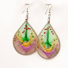 threaded earrings thread earrings peruvian thread earrings chaquira
