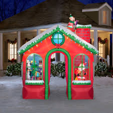 Animated Outdoor Christmas Decorations by Amazon Com Christmas Animated Inflatable Santas House Walk
