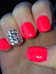 pink acrylic nails with bling love these bright pretty colors