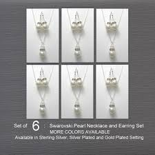 personalized wedding jewelry bridesmaid gift set of 6 white pearl necklace and earring set