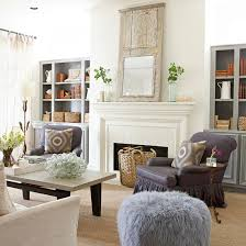 Fireplace Side Cabinets by Gray Built In Cabinets Cottage Living Room Bhg