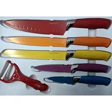 swiss koch kitchen collection swiss koch professional colourful 6 knife set with peeler