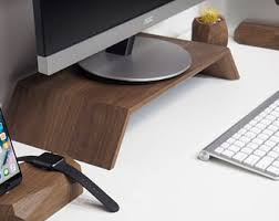 Monitor Stands For Desks Wood Monitor Stand Etsy
