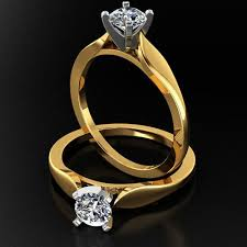 cathedral setting cathedral solitaire engagement ring with 4 prong setting 3d model