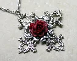 cross with rose necklace images Gothic cross necklace with red rose jpg