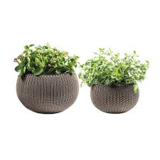 small planter keter knit cozie 11 in and 14 2 in dia harvest brown small and