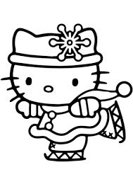kitty skating coloring free printable coloring pages
