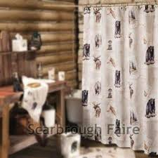 Cabin Shower Curtains Moose Shower Curtain Foter