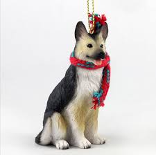 german shepherd dog christmas ornament scarf figurine tan black