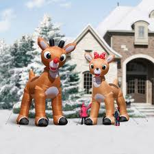 Blow Up Holiday Decorations The 15 U0027 Inflatable Rudolph Hammacher Schlemmer