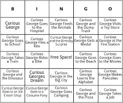 curious george books bingo by bingo card template