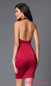short halter open back red semi formal dress