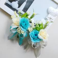 wrist corsage for prom new free shipping bridegroom white blue purple wedding silk