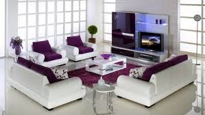 Modern Purple Rug Purple Leather Sofa With Led Tv And Purple Rug For Modern