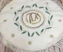 passover matzah cover passover matzah cover seder embroidered hebrew fringes gold green
