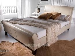 King Size Leather Sleigh Bed Kaydian Rothbury Ivory Leather Sleigh Bed By Kaydian Kingsize