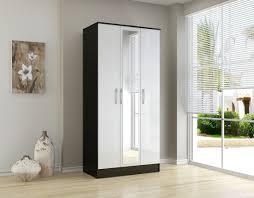 White Gloss Bedroom Mirror Bonsoni Mdp Lynx 3 Door Mirror Wardrobe Black U0026 White