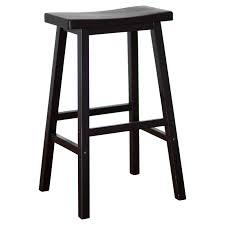 black stained wooden bar stool without backrest with rectangle