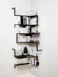Storage Walls by Contemporary Corner Shelves Mounted In The White Walls For Books