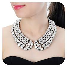 statement necklace pearl images Holylove white pearl costume statement necklace for jpg