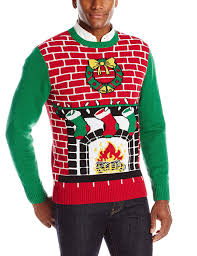 ugly christmas sweater men u0027s fireplace is lit light up sweater at