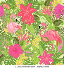 tropical wrapping paper wallpaper with flowers tropical leaves and flamingo eps
