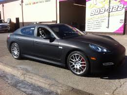porsche wrapped matte black vinyl wrap porsche panamera for chase car inc