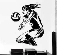 sport de chambre amovible femmes de volley vinyle stickers muraux sport salon