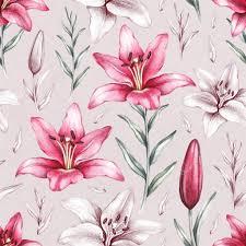 fiori disegni modello senza cuciture con disegni di fiori di giglio foto stock