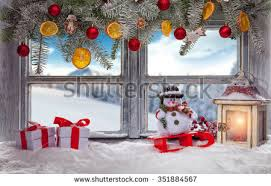 Outside Window Sill Christmas Decorations santa claus looking into cottage window stock photo 2351452