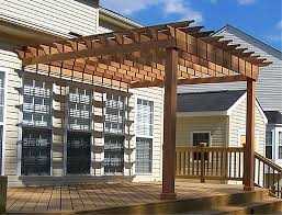 Wood Pergola Designs And Plans by Garden U0026 Outdoor Brown Pergola Plans On White House With Single