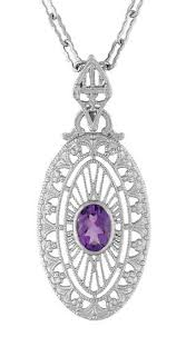 amethyst necklace silver images Art deco amethyst filigree oval pendant necklace in sterling jpg