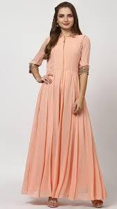 buy indian designer peach starry gold a line long dress online
