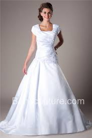 modest wedding dress gown square neckline dropped waist sleeve satin lace modest