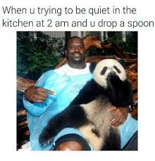 Be Quiet Meme - when u trying to be quiet in the kitchen at 2 am and udrop a spoon