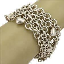 multi chain silver bracelet images Tiffany co sterling silver multi chain puff hearts toggle clasp jpg
