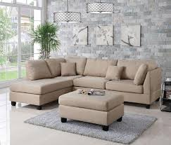 Beige Sectional Sofas Wayfair Ifin1021 Poundex F7605 Sectional Sand Beige
